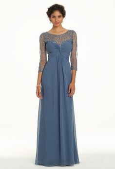 Mother of The Bride dress, a-line, chiffon with sequins. Available in plus sizes