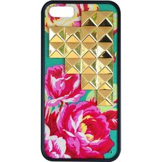Wildflower Teal Rose Gold Studded Pyramid Iphone Case as seen on Giuliana Rancic