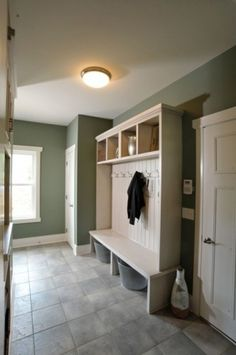 Glamorous hall tree storage bench in Laundry Room Contemporary with Mud Room Bead Board next to Laundry Room In Bathroom alongside Laundry Mudroom and Garage Entry Bench, Bench Designs, Laundry Room Design, Laundry Rooms, Laundry Baskets, Small Laundry, My Living Room, Built Ins, Mudroom