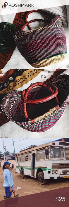 Handcrafted basket/bag Beautiful basket/bag .Handcrafted in Ghana ❤ perfect bag for a beach/picnic day 🍍☀️🌿 Bags