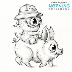"2,066 Likes, 17 Comments - Chris Ryniak (@chrisryniak) on Instagram: ""Pigback safari adventure! #morningscribbles"""