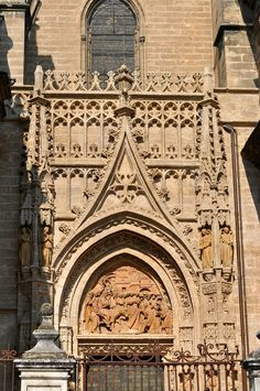 Detailing on the outside of the Seville Cathedral (Cathedral of Saint Mary of the See) in Spain.