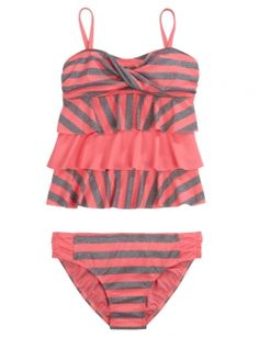 Bandeau Stripe Tankini Swimsuit at justice. i love it so much!!!