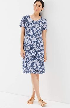 Image for Pure Jill Crinkled-Linen Scoop-Neck Dress                                                                                        from JJill