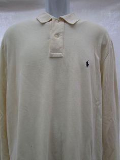 0c89a0b0132594 Ralph Lauren size Large POLO Shirt Long Sleeve100 Cotton Ivory Navy Pony