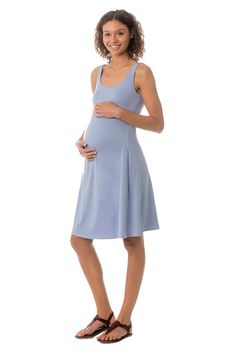 7e0aa353ca778 versatile eco friendly bumpstyle    MAJAMAS    comfy cotton modal blue  knee-length maternity tank dress with nursing access for mama    be the  change ...