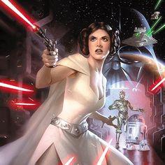 Star Wars - Princess Leia, Darth Vader, C3PO and R2D2 by Alex Garner *