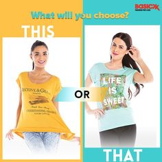 A #yellow top or a #green top? Which #graphic tee will you choose for yourself? Comment below.  #Basicxx #BasicxxOnline #Riyadh #Jeddah #Dhahran #InspirationFulfilled #BasicxxWomen