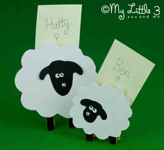 Clothespin Sheep Place Card Holders. Easy to make and super cute for an Easter or Spring party table. Baaaaa!