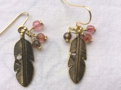 Multi-colored Tourmaline brown, orange, pink gems stones, brass feather earrings Made in USA by MoonBeamsJewels on Etsy