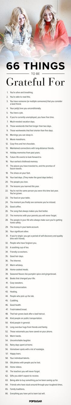 66 Things to Be Grateful For, Big and Small