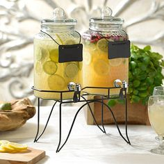 Hammered Glass Twin Beverage Dispensers