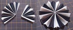 三つの扇を繋げて円形にする ロゼットパーティーピックの作り方