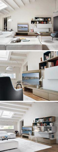 Die Moderne Livitalia Wohnwand C44 Hat Ein Schwenkbares TV Paneel,  Unsichtbarer Kabelführung Und Integriertem Aufklappbaren