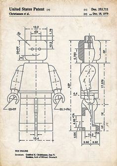 Lego Minifigure US Patent Art mini figure poster print