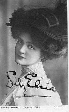 Lily Elsie Vintage Postcard Signed RARE Edwardian Actress Beautiful Girl   eBay