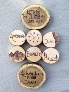 Outdoor inspired wood burned coasters