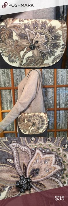 """One of a Kind Creation Shoulder Bag Carrot Top original handbag. Handcrafted with upcycled and repurposed hardware, embellishments and materials. Brand new. 12"""" x 10"""". Straps are 15"""" and adjusts. 1 compartment. 2 pouches on one side. 1 big pouch on the other. Beautiful sturdy fabric. This would make a beautiful gift for yourself or your Mother, Sister, Aunt, Grandmother or friend. Non smoking home Carrot Top Bags Shoulder Bags"""