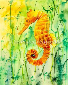 Seahorse Print for Beach Home Decor by SeaSideCreations1 on Etsy