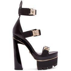 Versace Black Medusa Platform Heels featuring polyvore, women's fashion, shoes, pumps, heels, sandals, versace, black court shoes, platform heels pumps, buckle shoes and kohl shoes