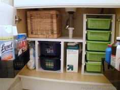Something about cubbies and shelves just makes everything look instantly in order — and we love this blogger's genius tower of pull-out baskets, which she built herself. See more at Pregnant With Powertools »  - GoodHousekeeping.com