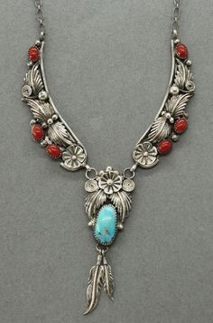NAVAJO Sleeping Beauty Turquoise Coral Leaf Flower Sterling Three Links Necklace   Jewelry & Watches, Ethnic, Regional & Tribal, Southwestern   eBay!