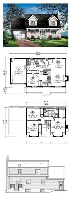 Cape Cod House Plan 49687 | Total Living Area: 1564 sq. ft., 4 bedrooms and 1.5 bathrooms. #houseplan #capecodhome by Liis Raud