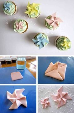 Cupcakes with Fondant Pinwheels Cake Decorating Techniques, Cake Decorating Tutorials, Cookie Decorating, Cupcakes Decorating, Fondant Toppers, Fondant Cakes, Cupcake Toppers, Cupcake Fondant, Decors Pate A Sucre