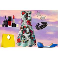 Com que roupa eu vou? by dedemaier on Polyvore featuring moda, Mary Katrantzou, Express, Loewe, Pearlz Ocean and Guerlain