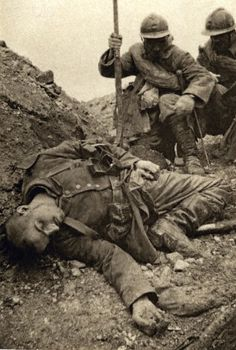 World War I. Dead body of a German soldier in a trench (France).