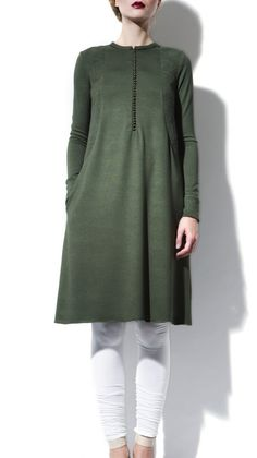 Long Sleeve Green Jersey Tunic Dress + leggings | Strandofsilk.com - Indian Designers | fall autumn style