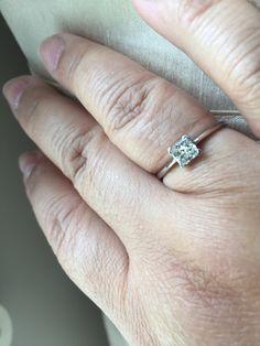 Princess cut .68 carat diamond in platinum