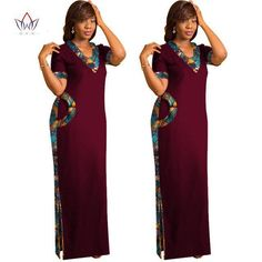 Image of 2017 BRW African Clothes for Women Short Sleeve Maxi Dresses Straight Dress Print Dress Dashiki African Print Long Dress African Print Dress Prom, Long African Dresses, Latest African Fashion Dresses, African Clothes, Maxi Dress With Sleeves, Maxi Dresses, Nigerian Dress Styles, Straight Dress, African Attire