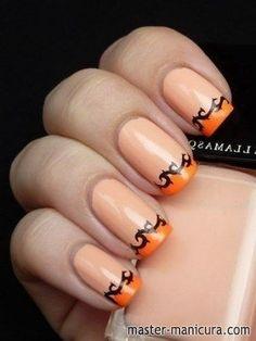 Осенний маникюр оранжевый френч на ногтях