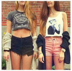 crop tees, loose sweaters and high waisted