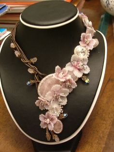 BeadsQueen. Cherry blossom beaded flower necklace