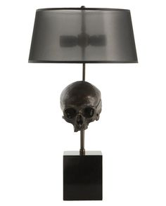 "Brass skull lamp- I see this lamp in a ""mermaids tears"" beach room (?!?)"