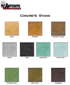 Great Coloring Options For Concrete With Artcrete Inc S Line Of Stains Like The Onyx And Mahogany Network Acid Stain Color Charts