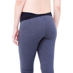 BeMaternity by Ingrid & Isabel Active Capri Pants with Crossover Panel Xxl, Women's, Gray