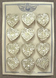 Vintage buttons ~ White pearled glass heart