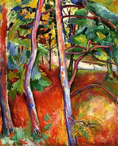 Trees, Autumn 1906. Emile-Othon Friesz (1879-1949) was a French fauvist artist. In Paris, he met Matisse, Marquet, and Rouault. Like them, he rebelled against the academic teaching & became a member of the Fauves, exhibiting with them in 1907. During the last 30 years of his life, he abandoned the lively arabesques and brilliant colors of his Fauve years, & returned to a more sober palette
