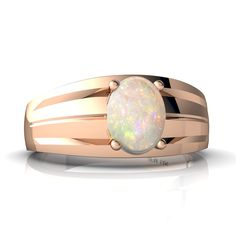 14kt Rose Gold Opal 8x6mm Oval Men's Ring - Size 11. Premium quality genuine Australian Opal. 14 karat solid gold. Made in the USA.