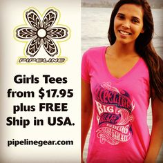 Surfer Girls… Your time has come! New Pipeline Juniors V-Neck tee for Summer at $17.95. Check them out at pipelinegear.com and get FREE ship in USA with no minimum order!