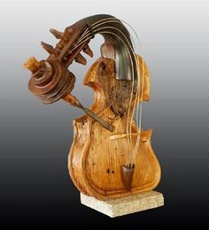 Philippe Guillerm ( I love the whimsy, beautiful work! Violin Art, Cello, Art Carved, Wooden Art, Wood Sculpture, Musical Instruments, Wood Crafts, Musicals, Art Pieces