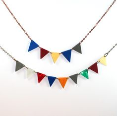 Five Pennant Bunting Necklace Recycled. $42.00, via Etsy.