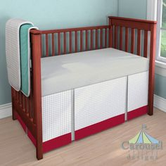 Custom baby bedding in French Gray Houndstooth, Silver Gray Linen, Solid Red, Solid Teal. Created using the Nursery Designer® by Carousel Designs where you mix and match from hundreds of fabrics to create your own unique crib bedding. #carouseldesigns