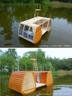 Catamaran cabin Floats Complete with Deck and Crow's Nest