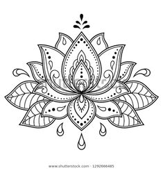 Mehndi Lotus flower pattern for Henna drawing and tattoo. Decoration in ethnic oriental, Indian style. Mehndi Lotus flower pattern for Henna drawing and tattoo. Decoration in ethnic oriental, Indian style. Henna Patterns, Flower Patterns, Flower Pattern Drawing, Indian Patterns, Pattern Flower, Mandala Pattern, Crochet Patterns, Henna Designs, Tattoo Designs