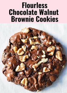 Flourless Chocolate Brownies, Gluten Free Chocolate Cookies, Chocolate Brownie Cookies, Gluten Free Cookies, Gluten Free Baking, Gluten Free Desserts, Gluten Free Recipes, Cocoa Chocolate, Flourless Desserts