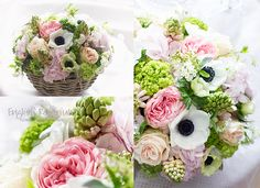 HOCHZEITSFLORISTIK UND DEKORATIONEN Wonderful Flowerbasket for a Wedding, Creation & Photography by www.english-rosarium.ch